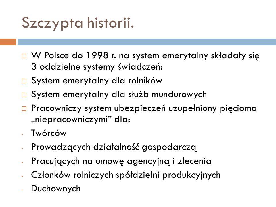 Szczypta historii. W Polsce do 1998 r. na system emerytalny składały się 3 oddzielne systemy świadczeń: