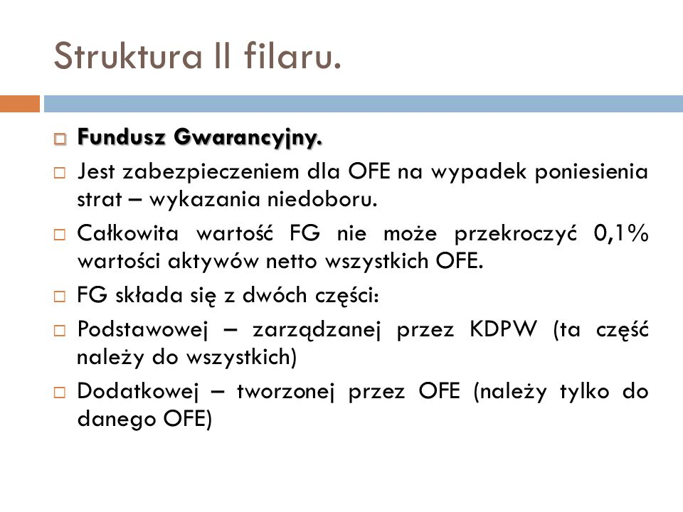 Struktura II filaru. Fundusz Gwarancyjny.