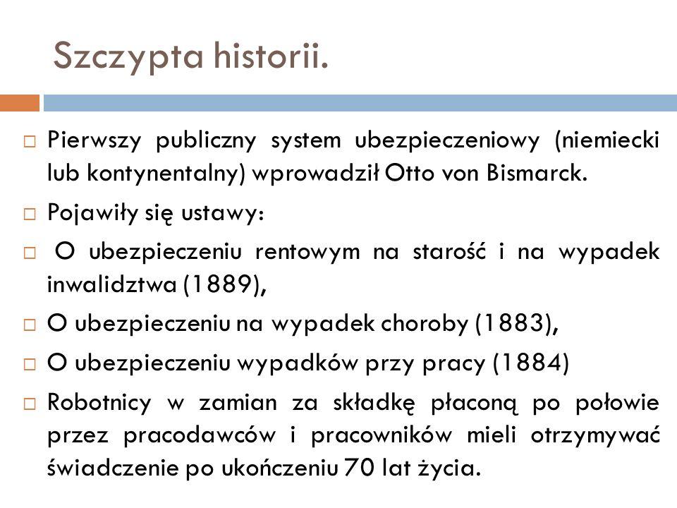 Szczypta historii. Pierwszy publiczny system ubezpieczeniowy (niemiecki lub kontynentalny) wprowadził Otto von Bismarck.