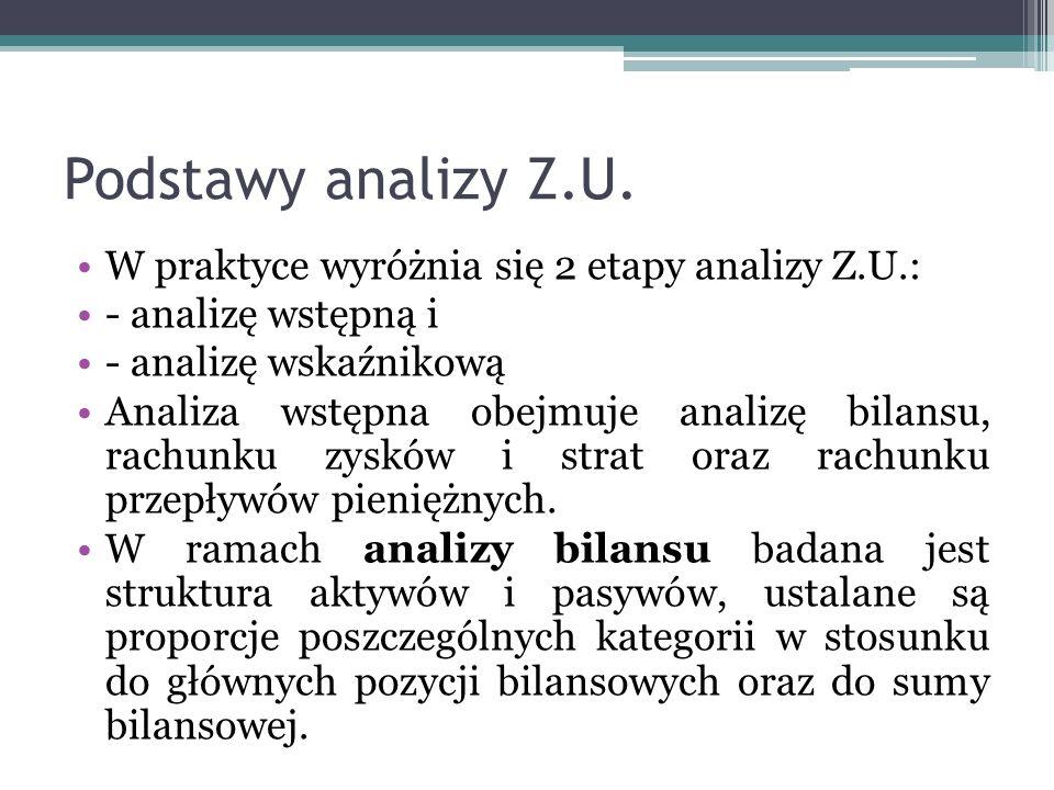 Podstawy analizy Z.U. W praktyce wyróżnia się 2 etapy analizy Z.U.: