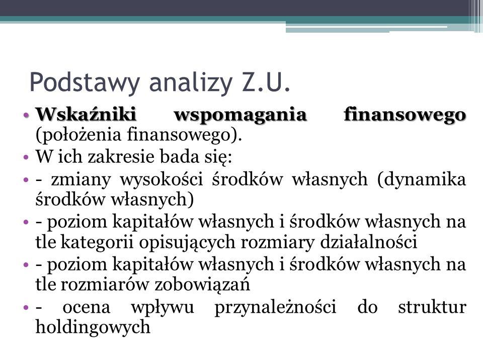 Podstawy analizy Z.U. Wskaźniki wspomagania finansowego (położenia finansowego). W ich zakresie bada się: