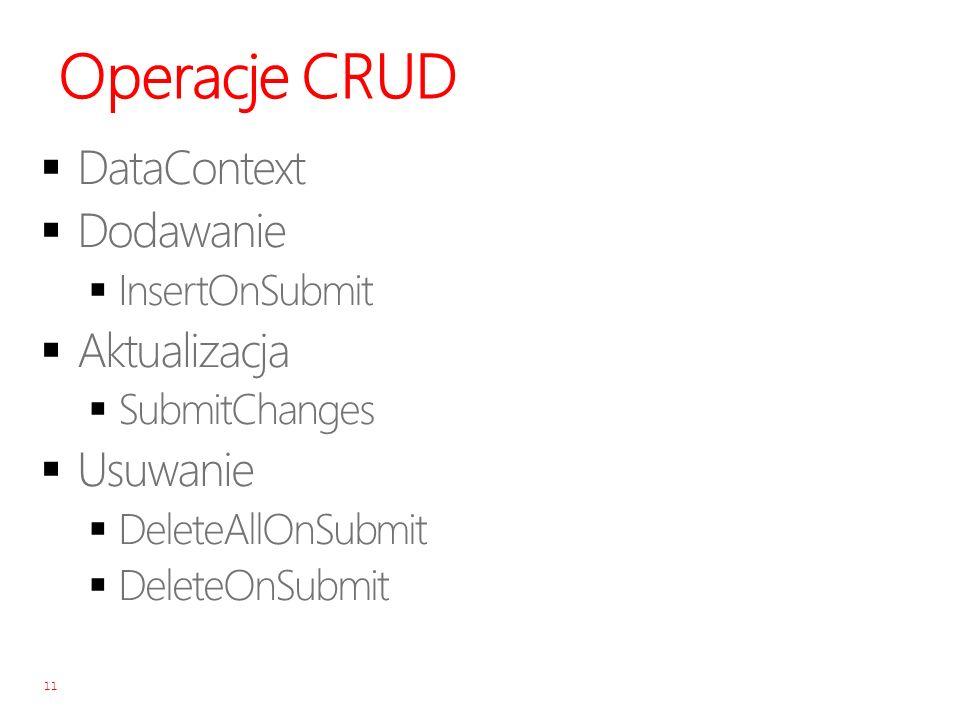 Operacje CRUD DataContext Dodawanie Aktualizacja Usuwanie