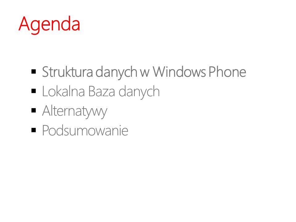 Agenda Struktura danych w Windows Phone Lokalna Baza danych