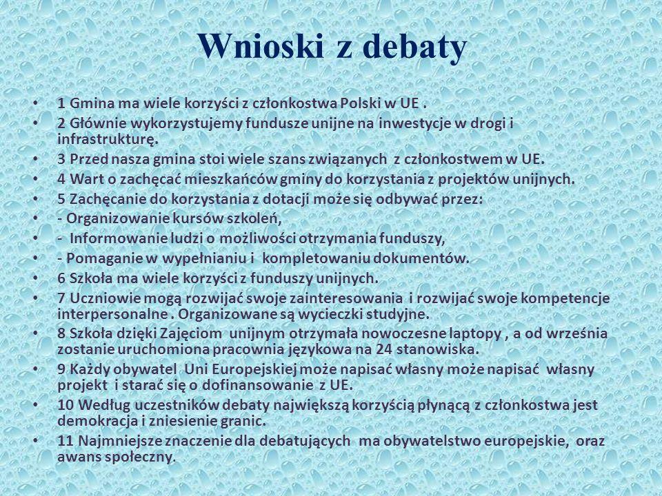 Wnioski z debaty 1 Gmina ma wiele korzyści z członkostwa Polski w UE .