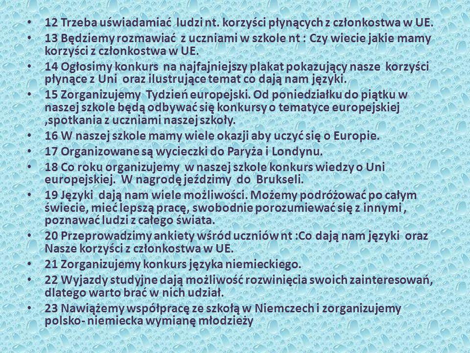 12 Trzeba uświadamiać ludzi nt. korzyści płynących z członkostwa w UE.