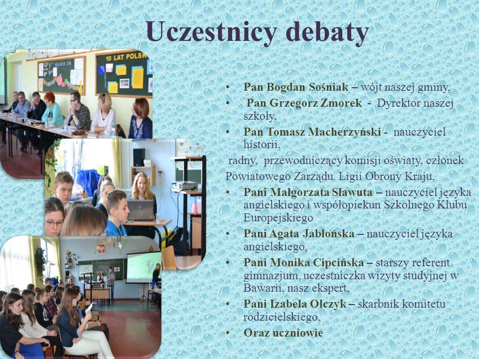 Uczestnicy debaty Pan Bogdan Sośniak – wójt naszej gminy,