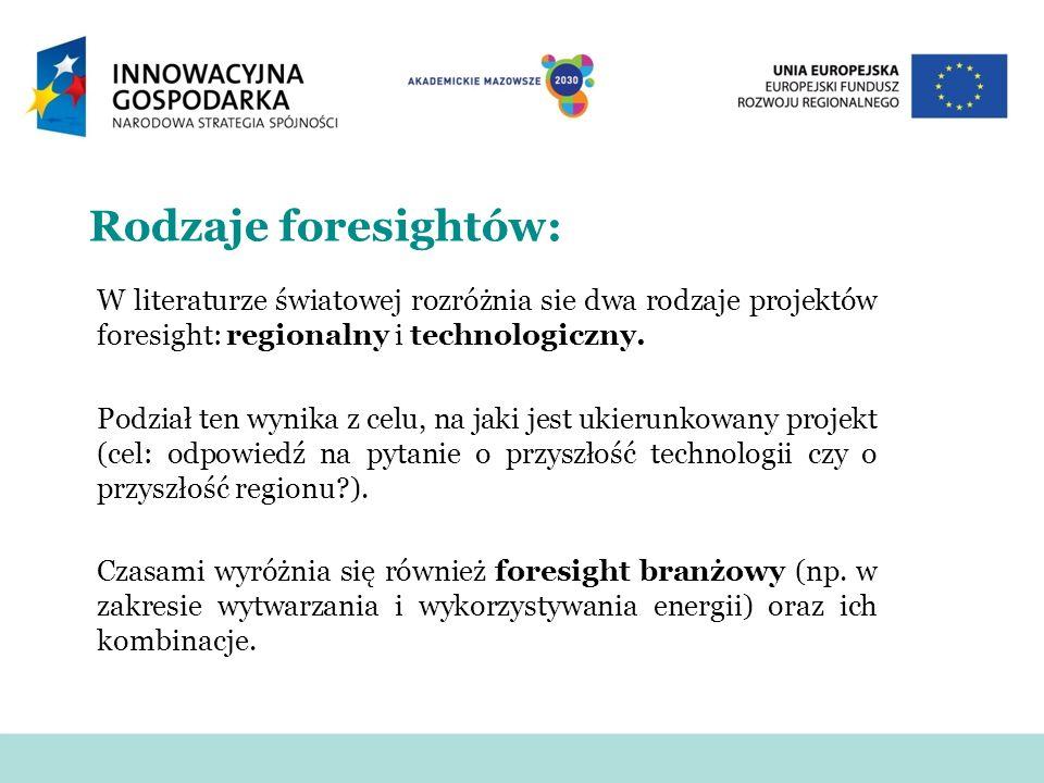 Rodzaje foresightów: W literaturze światowej rozróżnia sie dwa rodzaje projektów foresight: regionalny i technologiczny.