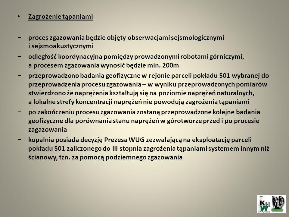 Zagrożenie tąpaniami proces zgazowania będzie objęty obserwacjami sejsmologicznymi i sejsmoakustycznymi.