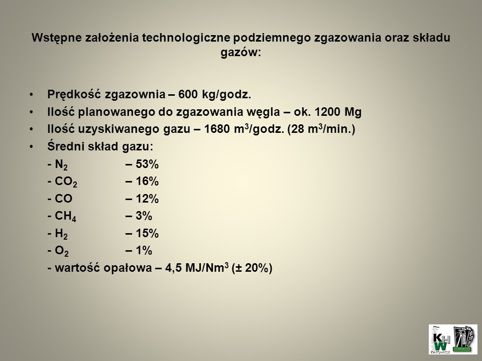 Wstępne założenia technologiczne podziemnego zgazowania oraz składu gazów: