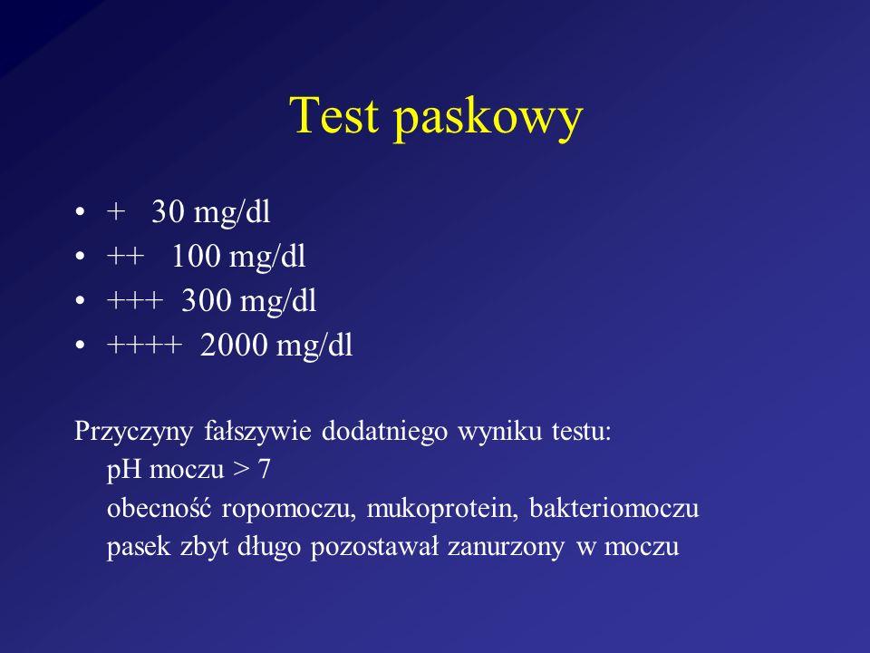 Test paskowy + 30 mg/dl ++ 100 mg/dl +++ 300 mg/dl ++++ 2000 mg/dl