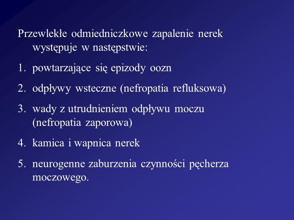 Przewlekłe odmiedniczkowe zapalenie nerek występuje w następstwie: