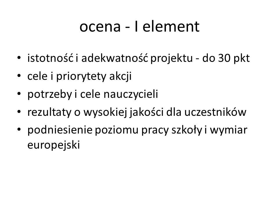 ocena - I element istotność i adekwatność projektu - do 30 pkt