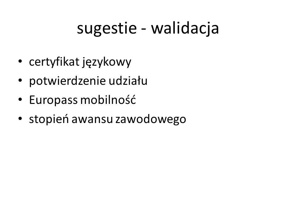 sugestie - walidacja certyfikat językowy potwierdzenie udziału