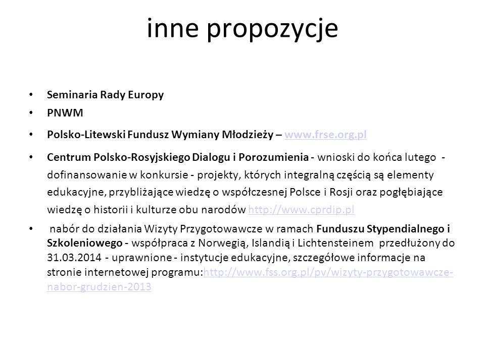 inne propozycje Seminaria Rady Europy PNWM