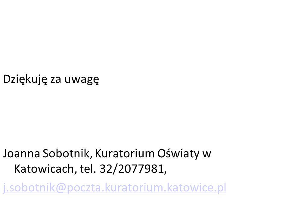 Dziękuję za uwagę Joanna Sobotnik, Kuratorium Oświaty w Katowicach, tel.