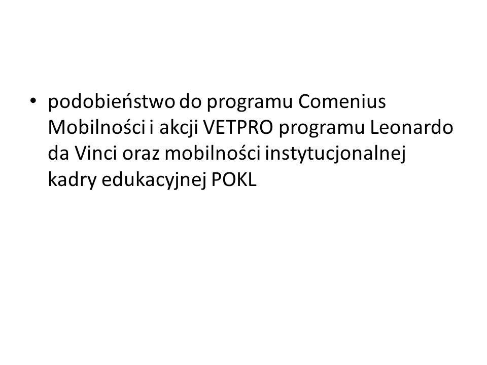 podobieństwo do programu Comenius Mobilności i akcji VETPRO programu Leonardo da Vinci oraz mobilności instytucjonalnej kadry edukacyjnej POKL