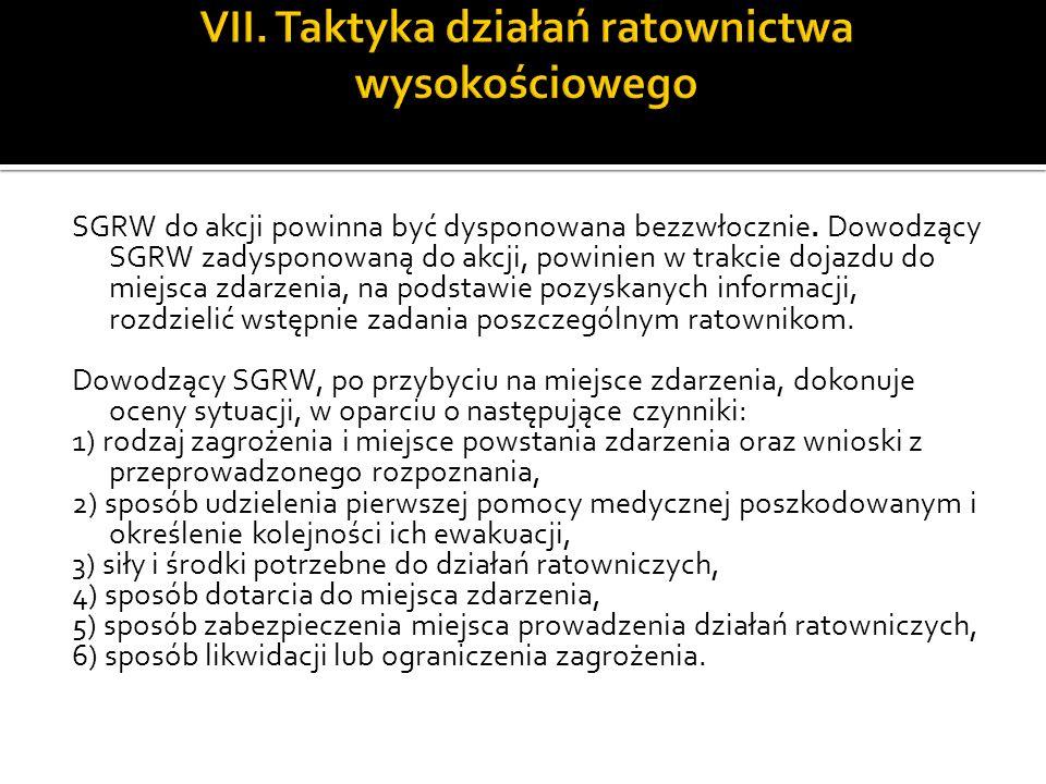 VII. Taktyka działań ratownictwa wysokościowego