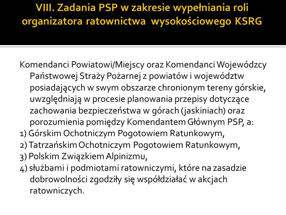 VIII. Zadania PSP w zakresie wypełniania roli organizatora ratownictwa wysokościowego KSRG