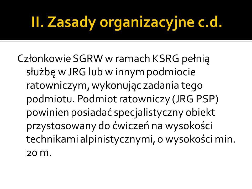 II. Zasady organizacyjne c.d.