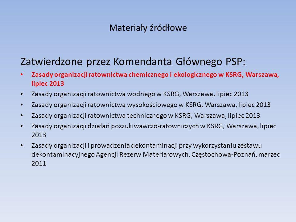 Zatwierdzone przez Komendanta Głównego PSP: