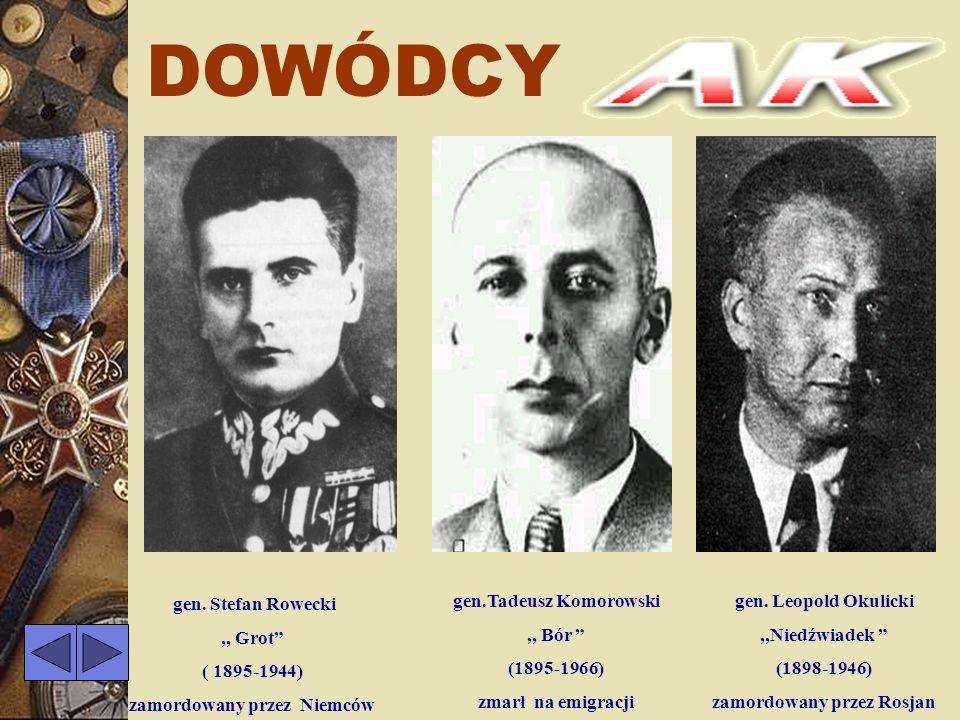 DOWÓDCY gen. Stefan Rowecki ,, Grot ( 1895-1944)