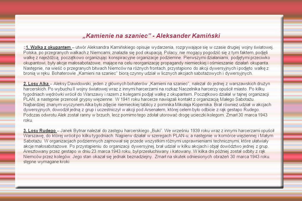 """""""Kamienie na szaniec - Aleksander Kamiński"""