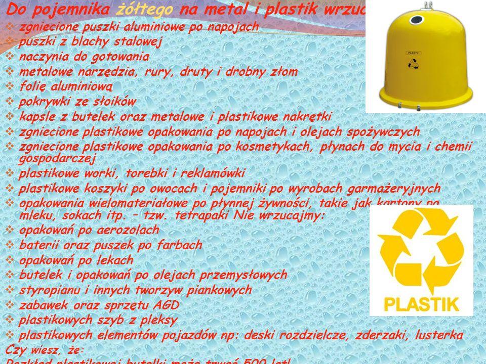 Do pojemnika żółtego na metal i plastik wrzucajmy: