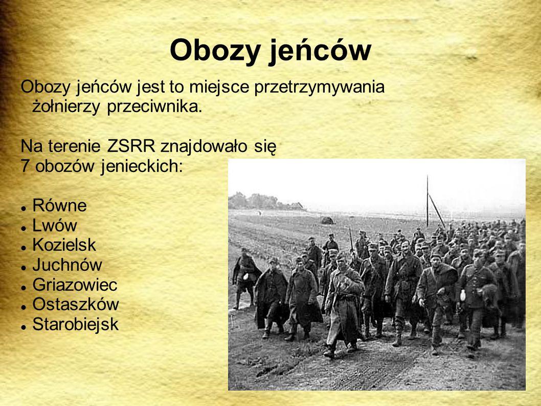 Obozy jeńców Obozy jeńców jest to miejsce przetrzymywania żołnierzy przeciwnika. Na terenie ZSRR znajdowało się.