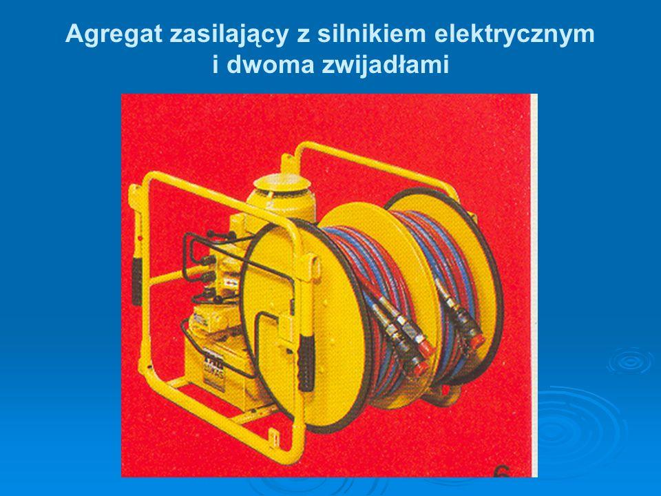 Agregat zasilający z silnikiem elektrycznym i dwoma zwijadłami