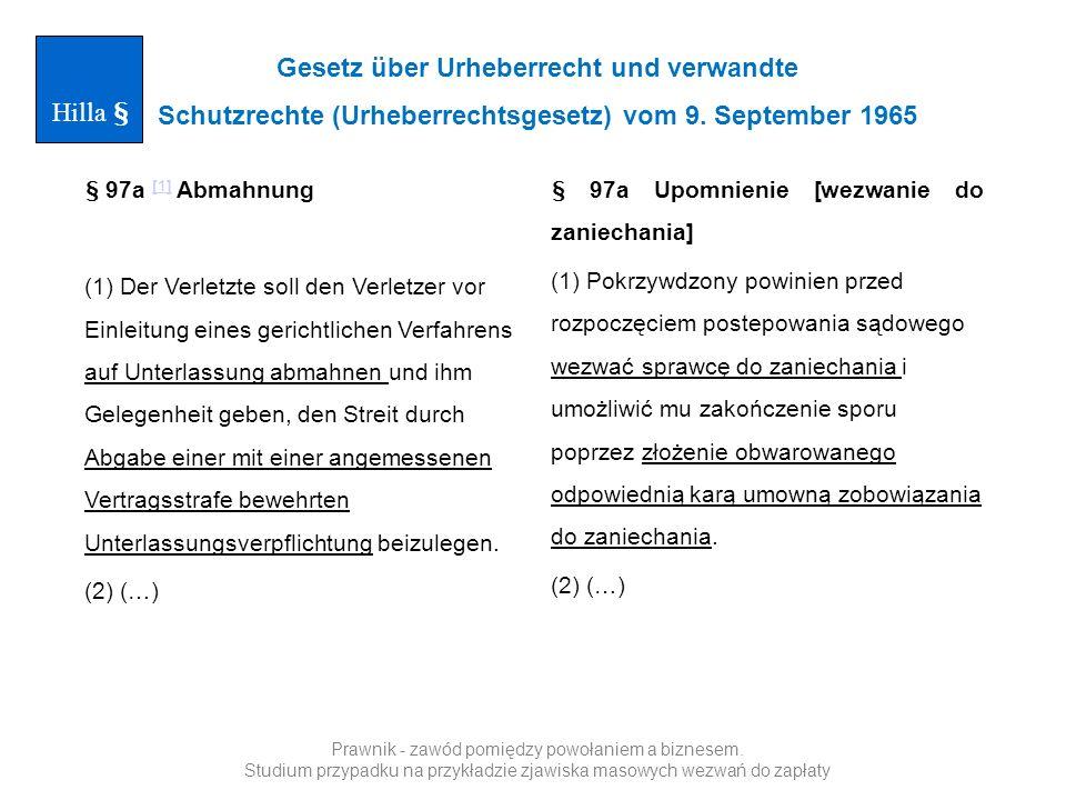 Gesetz über Urheberrecht und verwandte Schutzrechte (Urheberrechtsgesetz) vom 9. September 1965