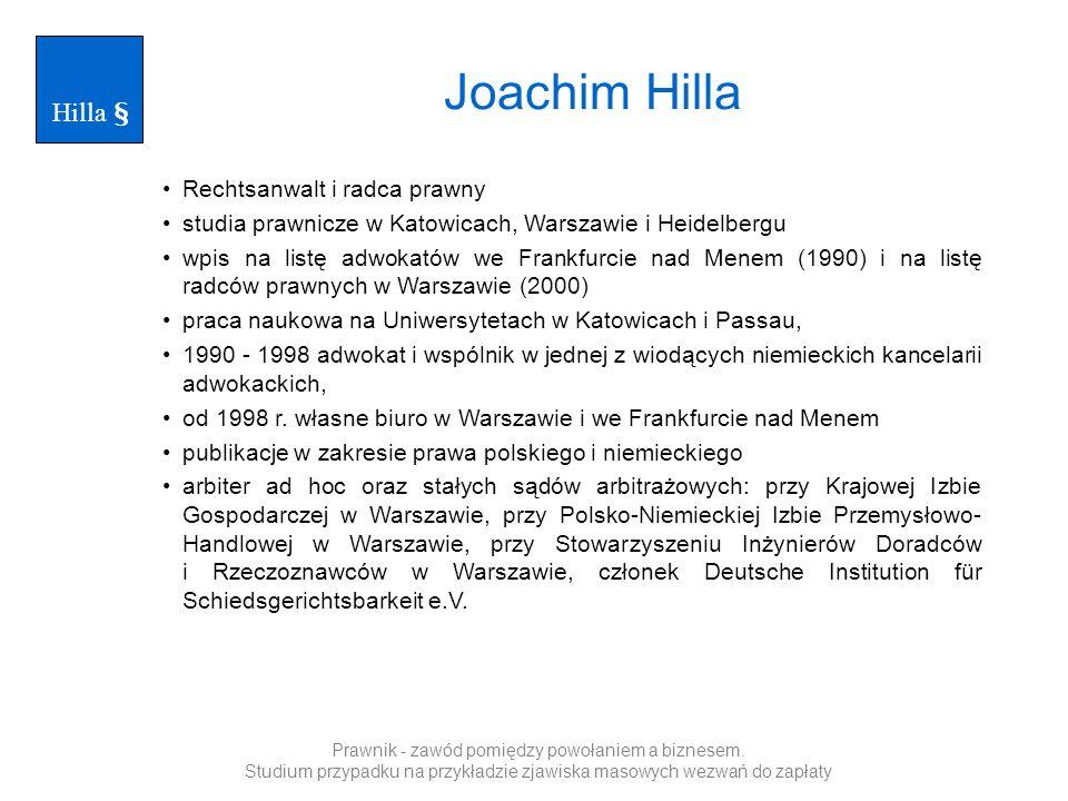 Joachim Hilla Hilla § Rechtsanwalt i radca prawny