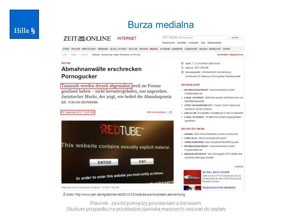 Hilla § Burza medialna. Źródło: http://www.zeit.de/digital/internet/2013-12/redtube-porno-stream-abmahnung.
