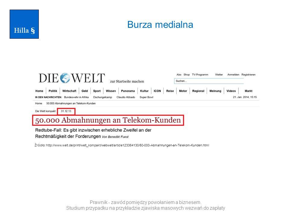 Hilla § Burza medialna. Źródło: http://www.welt.de/print/welt_kompakt/webwelt/article123364130/50-000-Abmahnungen-an-Telekom-Kunden.html.