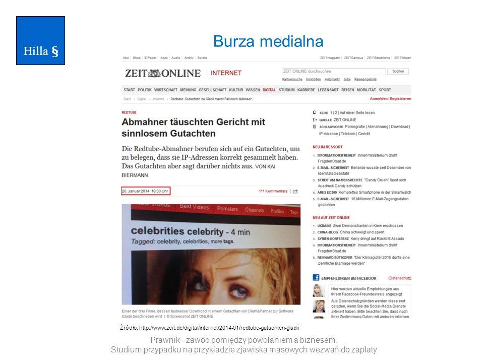 Hilla § Burza medialna. Źródło: http://www.zeit.de/digital/internet/2014-01/redtube-gutachten-gladii.