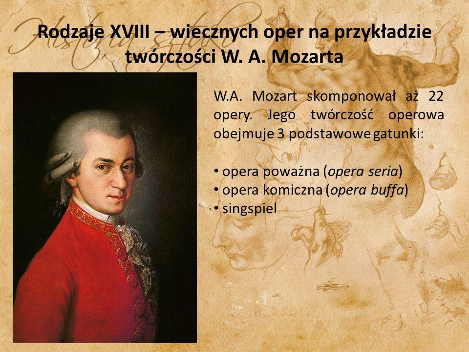 Rodzaje XVIII – wiecznych oper na przykładzie twórczości W. A. Mozarta