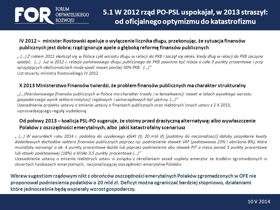 5.1 W 2012 rząd PO-PSL uspokajał, w 2013 straszył:
