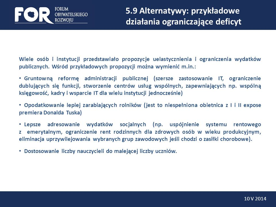 5.9 Alternatywy: przykładowe działania ograniczające deficyt