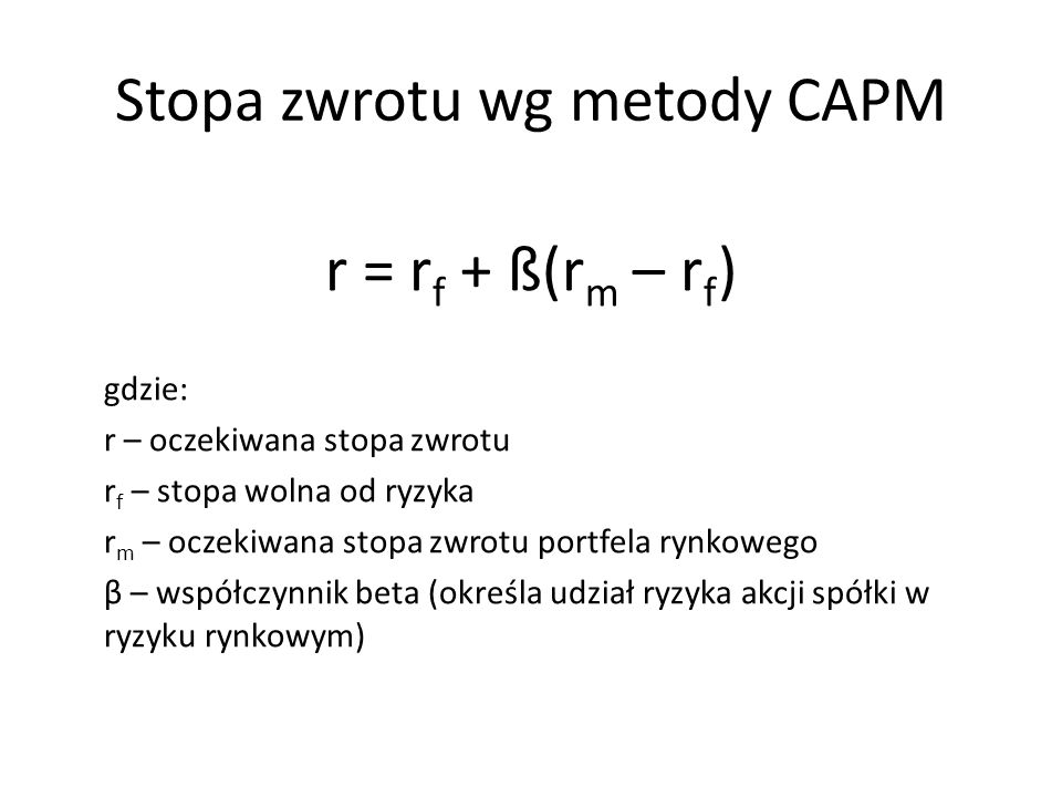 Stopa zwrotu wg metody CAPM