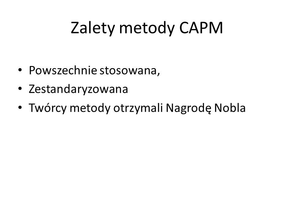 Zalety metody CAPM Powszechnie stosowana, Zestandaryzowana