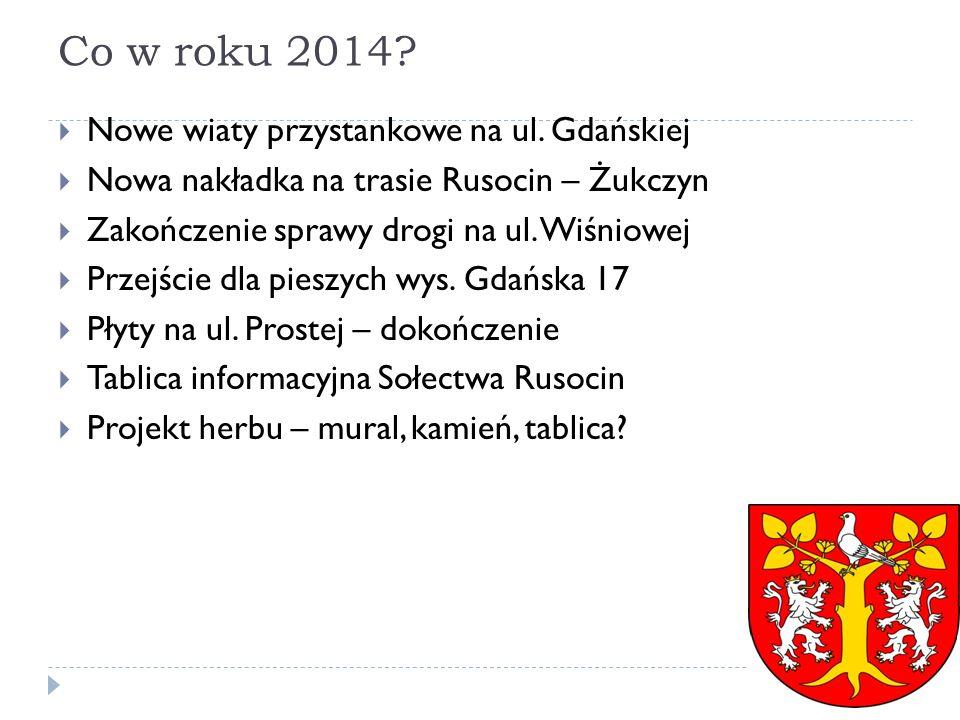 Co w roku 2014 Nowe wiaty przystankowe na ul. Gdańskiej