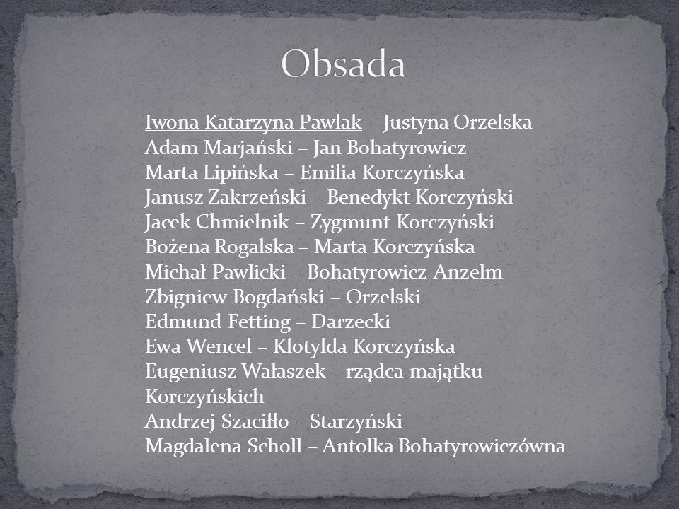 Obsada Iwona Katarzyna Pawlak – Justyna Orzelska