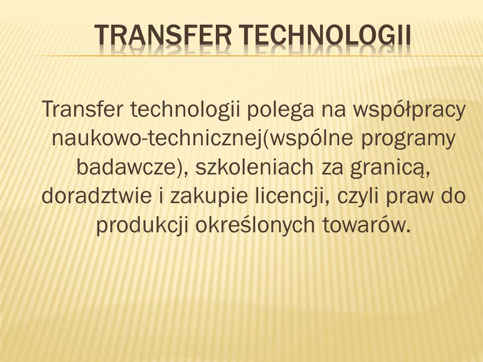 Transfer technologii