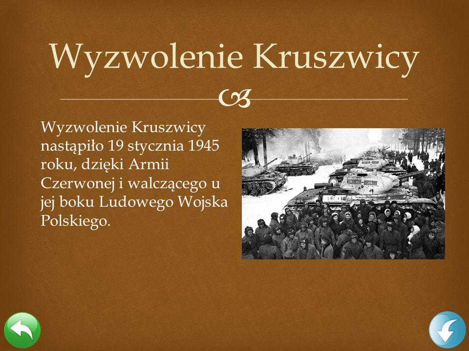 Wyzwolenie Kruszwicy Wyzwolenie Kruszwicy nastąpiło 19 stycznia 1945 roku, dzięki Armii Czerwonej i walczącego u jej boku Ludowego Wojska Polskiego.