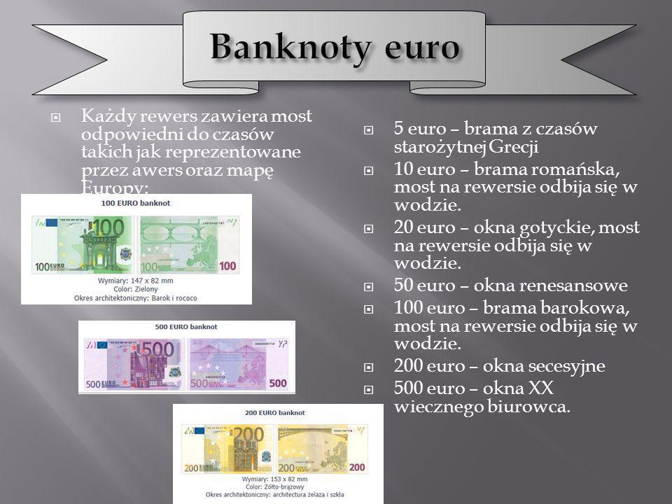 Banknoty euro Każdy rewers zawiera most odpowiedni do czasów takich jak reprezentowane przez awers oraz mapę Europy: