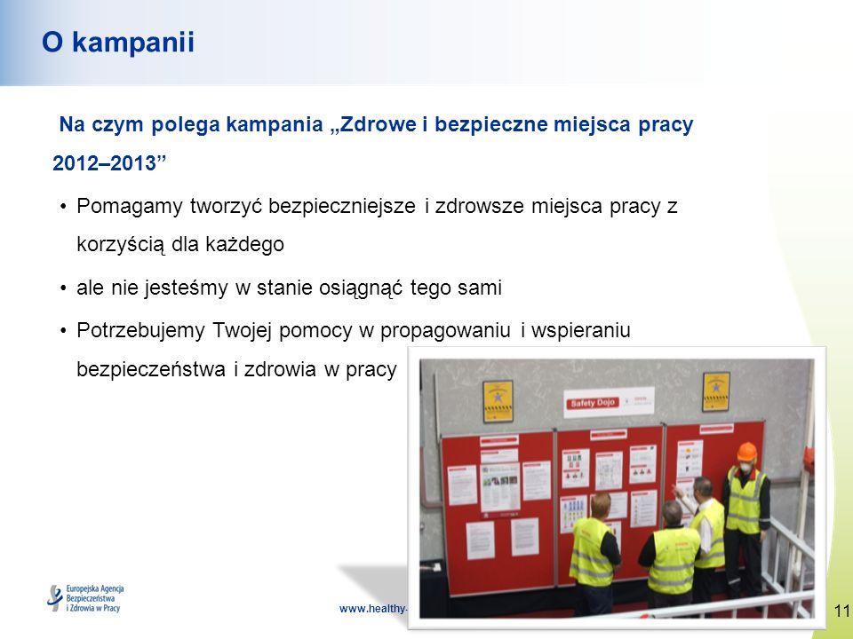 """O kampaniiNa czym polega kampania """"Zdrowe i bezpieczne miejsca pracy 2012–2013"""