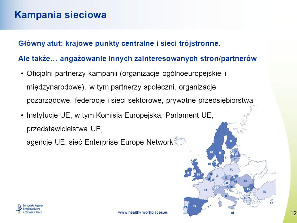 Kampania sieciowaGłówny atut: krajowe punkty centralne i sieci trójstronne. Ale także… angażowanie innych zainteresowanych stron/partnerów.