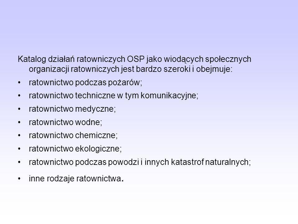 Katalog działań ratowniczych OSP jako wiodących społecznych organizacji ratowniczych jest bardzo szeroki i obejmuje: