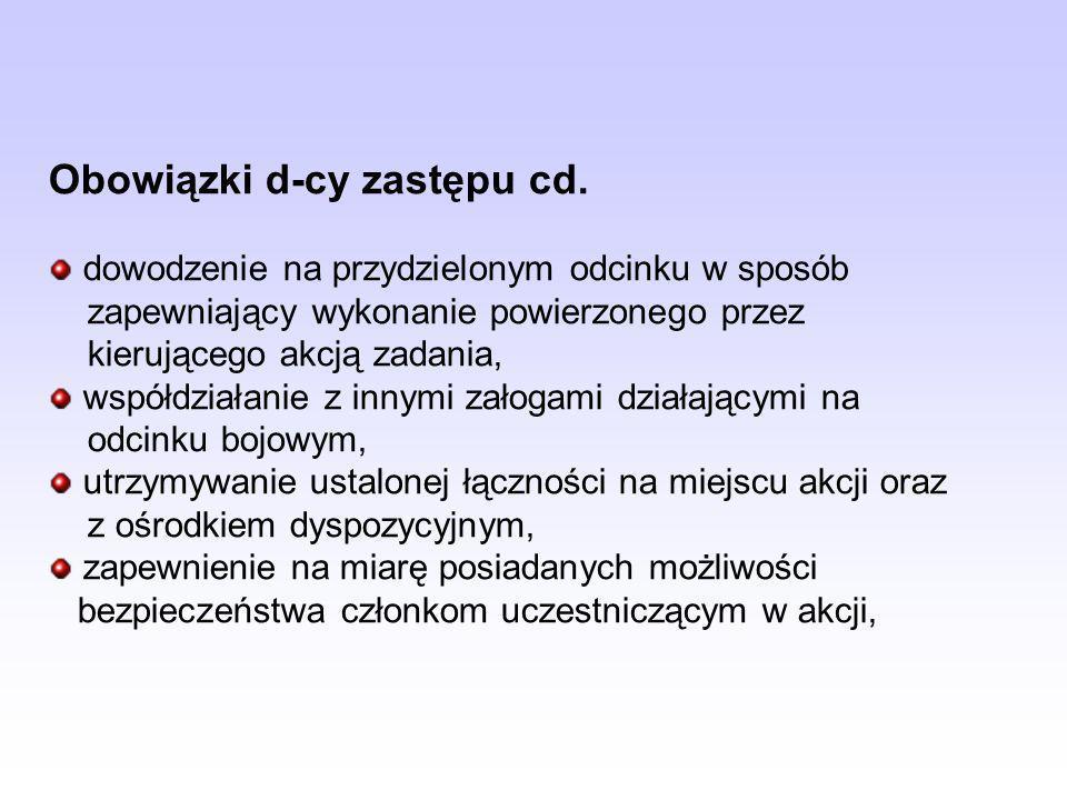 Obowiązki d-cy zastępu cd.