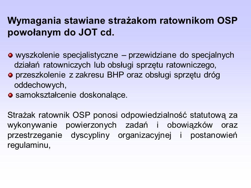 Wymagania stawiane strażakom ratownikom OSP powołanym do JOT cd.