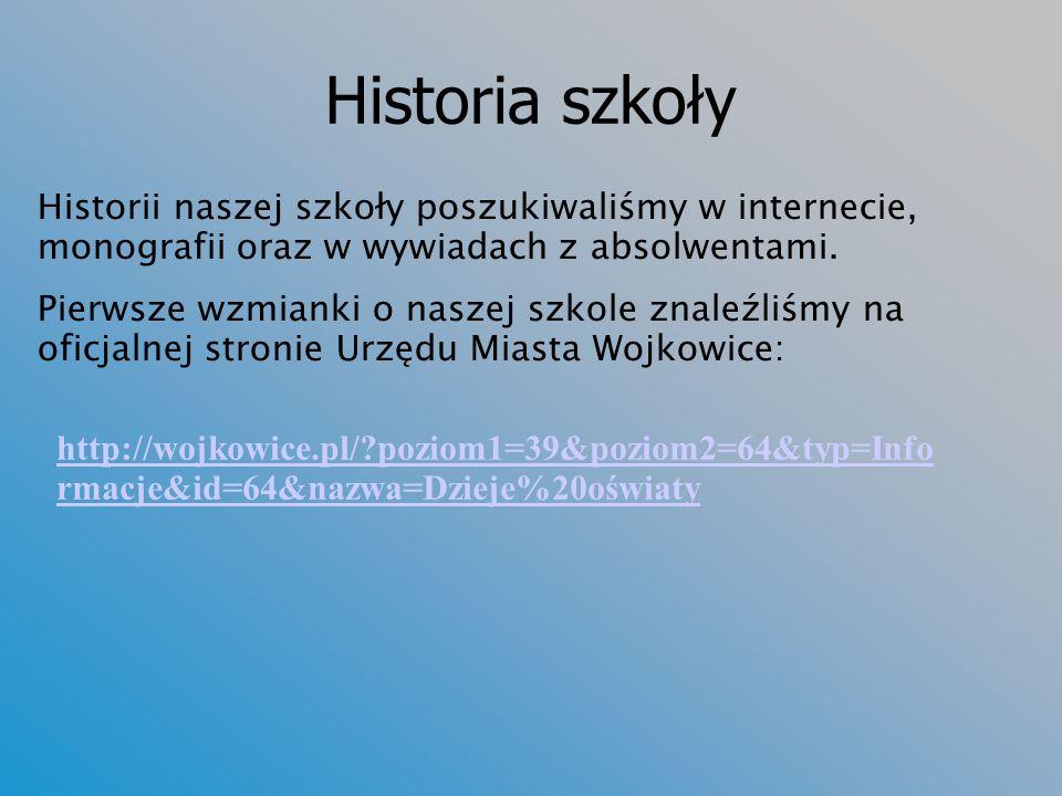 Historia szkoły Historii naszej szkoły poszukiwaliśmy w internecie, monografii oraz w wywiadach z absolwentami.